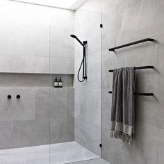 bathroom with skylight, grey tiles, black taps and frameless glass. bathroom with skylight, grey tiles, black taps and frameless glass. 37 Bathroom Vanity Ideas for Your Next Remodel COCOON black bathroom taps inspiration Bathroom Layout, Modern Bathroom Design, Bathroom Interior Design, Bathroom Ideas, Bathroom Organization, Bathroom Designs, Bath Design, Bathroom Storage, Bathroom Cabinets