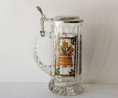 Vintage Beer Stein Glass Mug Purity Law of Germany Man Cave Decor 1990s