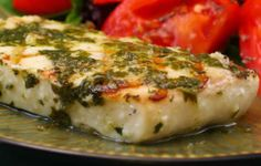 Recipe for Grilled Halibut with Garlic Cilantro Sauce; for anyone who likes cilantro, this is a keeper!  [from Kalyn's Kitchen] #LowCarb  #GlutenFree  #SouthBeachDiet