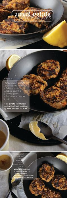 sweet potato + lentil patties w/ spiced aioli