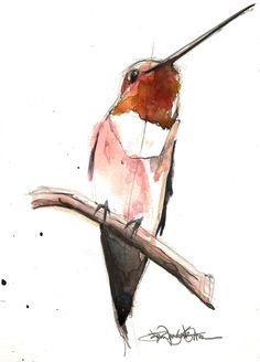 bird illustration by Jennifer Kraska Art And Illustration, Illustrations, Watercolor Illustration, Hummingbird Illustration, Watercolor Bird, Watercolor Sketch, Bird Sketch, Sketch Art, Hummingbird Art