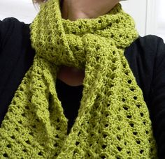 This is a lovely scarf with an interesting pattern. It is written using European terms which means the tr is really a dc! Must make this one!