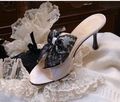 """""""Clair de Lune"""" - ivory striped jacquard, black Chantilly lace on ivory satin doble bow http://store.leshaussonsdelabelle.com"""