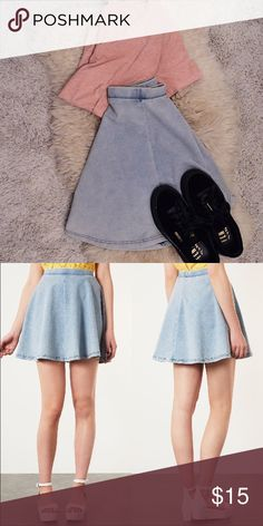 TOPSHOP MOTO Blue Acid Denim Look Skater Skirt •First picture mine •Second isn't my picture  •65% Cotton,25% Polyester,10% Elastane.  Soft skater skirt that drapes in all the eighth places Topshop Skirts Circle & Skater