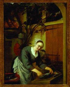 Circle of Adriaen Van Ostade A YOUNG SERVING GIRL SCALING A FISH 1668