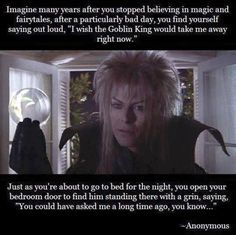 Jareth, the Goblin King in Labyrinth, David Bowie Labyrinth, Labyrinth Film, Labrynth, Goblin King, Fandoms, The Dark Crystal, Jennifer Connelly, Believe In Magic, Great Movies