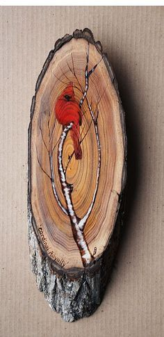 Cardinal Royalty SOLD - Northern Cardinal by Betsy Popp - Wood slice crafts - Wood Slice Crafts, Barn Wood Crafts, Wood Burning Crafts, Wood Burning Patterns, Wood Burning Art, Wooden Crafts, Tole Painting, Painting On Wood, Wood Paintings
