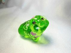 Fenton Green Glass Animal Pig Figurine Pink Hearts Design Hand Painted Signed