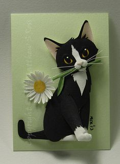 CUSTOM Kitten With a Daisy Cat ACEO Mini Paper Sculpture Matthew Ross