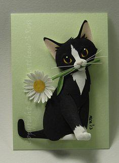 CUSTOM Kitten With a Daisy Cat ACEO Mini Paper Sculpture Matthew Ross