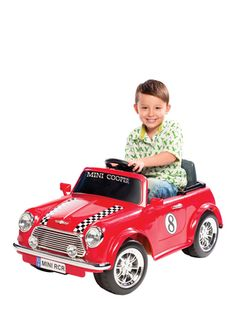 """A little """"racing"""" Mini Cooper! This is a really impressive toy car for kids."""