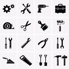 Tools icons - ilustração de arte em vetor