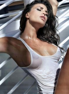 Italian Model - Claudia Galanti, sexy, white singlet, see through