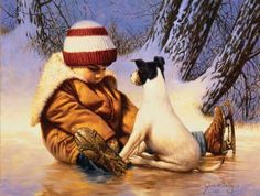 Boy and his Rat Terrier artist Jim Daly