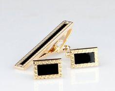 Lodestar Golden Nebula Patterned Frame Cufflink & Tieclip Set with Gift Box (B-46)