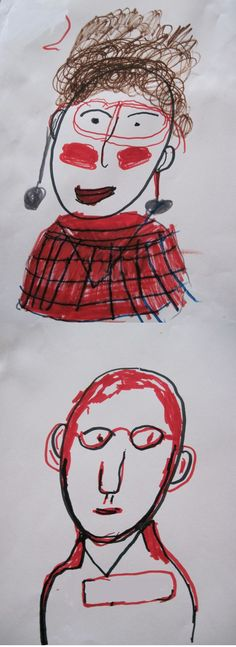 """""""Self-portrait by a 56 yr. old woman with a brain injury & self-portrait by a 78 yr. old man with late stage Alzheimer's."""""""
