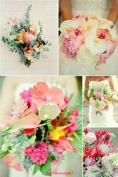 Sélection de bouquet de mariée exotique. Parfait pour le thème tropical. Retrouve la suite des idées sur le blog Youpi ! La vie est jolie !
