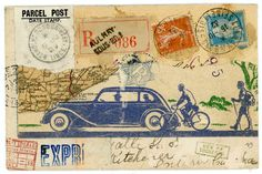 Country Parcels, mail art by Nick Bantock, Author/Artist known worldwide for his Griffin and Sabine books. Postage Stamp Art, Decorated Envelopes, Multimedia Artist, Envelope Art, Postcard Art, Atc Cards, Small Art, Art Design, Collage Art