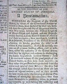 War of 1812 Declared... COLUMBIAN CENTINEL, Boston, June 27, 1812 newspaper...