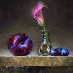 Lily & Plum by David Cheifetz Oil ~ 6 x 6