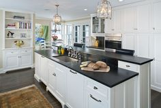 Drawers and power kitchen two teired countertop | Two Level Island Design Ideas, Pictures, Remodel, and Decor