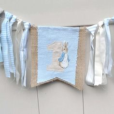 Peter Rabbit Burlap first Birthday highchair by Hartranftdesign