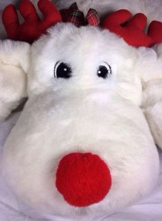 Huge Cuddle Wit Christmas Red Nose Reindeer White Stuffed Plush Animal