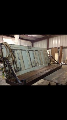 Repurposed old doors into porch swing!