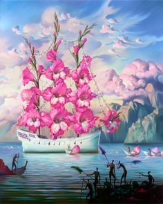 Vladimir Kush Arrival of the Flower Ship painting for sale - Vladimir Kush Arrival of the Flower Ship is handmade art reproduction; You can shop Vladimir Kush Arrival of the Flower Ship painting on canvas or frame. Vladimir Kush, Salvador Dali Gemälde, Salvador Dali Paintings, Fantasy Kunst, Fantasy Art, Fantasy Life, Surrealism Painting, Modern Surrealism, Fine Art