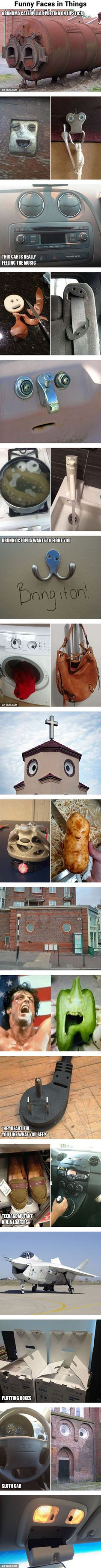 Funny faces in everyday objects