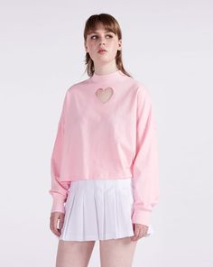 Lazy Oaf Pink Heart Hole Long Sleeve T-shirt - Everything - Categories - Womens
