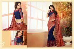 Ethnic Traditional Half And Half #DesignerSaree #Replica With Amazing Work And Style #craftshopsindia