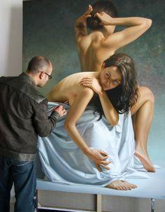 hyper-realistic figure paintings