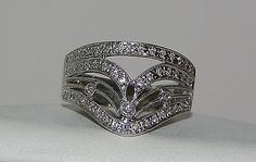 "18K White Gold Custom Made ""Bellari"" Chevron Style Pave Set Diamond Ring"