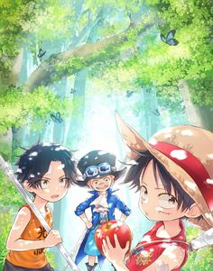 luffy has the thousand sunny on his shirt lol . Sabo One Piece, One Piece Crew, One Piece Comic, One Piece Fanart, One Piece Luffy, Anime Chibi, Anime Art, Chibi Cat, Bts Chibi