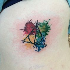 Deathly Hallows | Hogwarts house colours | watercolour tattoo | Harry Potter