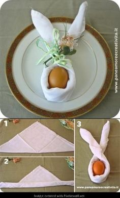 Folded napkin in bunny tutorial by jeannine