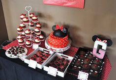 Modern Minnie Party Dessert Buffet.