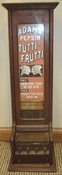 Old Antique Adams Pepsin Tutti Frutti Sweet Chocolate Vending Machine, Coin Operated, 1894