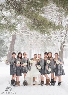 grey dresses, pashminas, and ugg boots--winter wedding with bride and bridesmaids in the snow