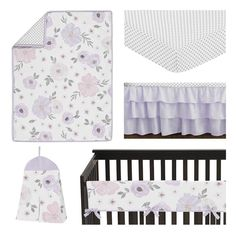 Purple Crib Bedding, Mini Crib Bedding, Baby Girl Bedding Sets, Girl Nursery Bedding, Baby Girl Nursery Themes, Crib Bedding Sets, Girl Nursery Purple, Nursery Room, Nursery Decor
