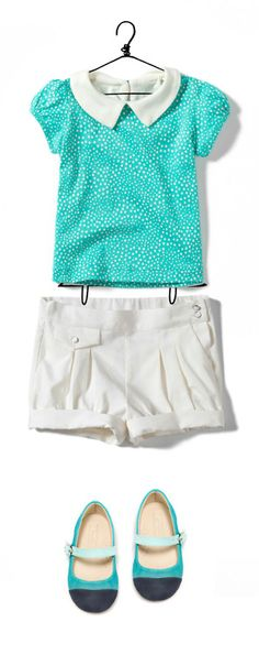 sleeves and collar on the shirt, pockets and the rest of the shorts