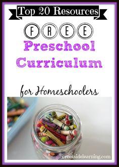 20 favorite FREE Homeschool Preschool Curriculum Resources #preschool #homeschool