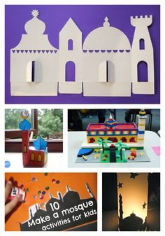10 fun ways to make a mosque for kids with mosque crafts, cardboard printable mosques to make, lego mosque ideas and more. Great ideas for Muslim children, or for RE lessons and world geography Eid Crafts, Ramadan Crafts, Crafts To Make, Ramadan Activities, Craft Activities, Islam For Kids, Holiday Crafts For Kids, Thinking Day, Art For Kids