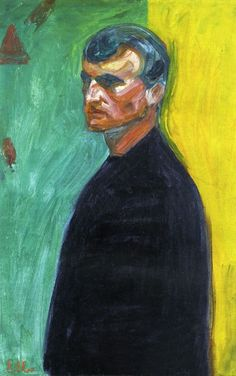"""Edvard Munch, Self-Portrait Against Two Color Background  """"For as long as I can remember I have suffered from a deep feeling of anxiety which I have tried to express in my art. """" Edvard Munch"""