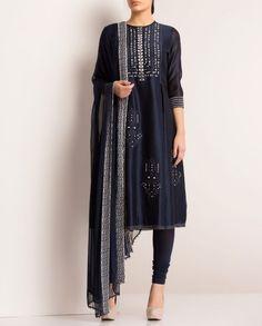 AM : PM Midnight Blue Anarkali in Chanderi silk