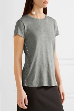 Valentino - Rockstud Embellished Cotton-jersey T-shirt - Gray -