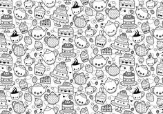 A cute and kawaii coloring page featuring a fabulous tea party and cakes. Fully editable patterns in AI and EPS format.