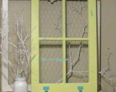 Vintage Window Frame Distressed Yellow & Aqua with Aqua Chicken Wire Wedding Decor, Home Decor, Pictures, Photo