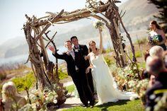 Driftwood arch at The Cliffs Resort, Shell Beach California.  ~ www.adornmentsflowers.com
